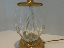 Crescent Brass Table Lamp with Cut Crystal