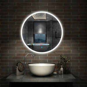Round LED Illuminated Bathroom Mirror with Demister Optional Modern 600x600mm