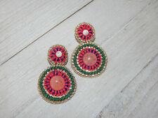 Boho Double Circle Fabric Back Anthropologie Earrings Pink Green Watermelon Bead