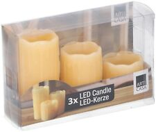 Set of 3 Skinny Real Wax Battery Operated LED Flameless Pillar Candles Candle