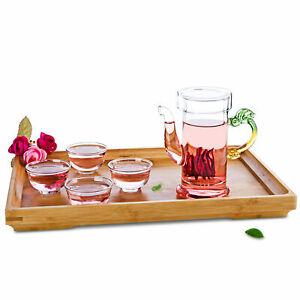 Tea Set-1*200ml Dragon Shaped Handle Heat Resistant Glass Teapot+4* cups+Tray