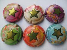 Série de 6 NOUV. capsules de CHAMPAGNE Générique Les étoiles