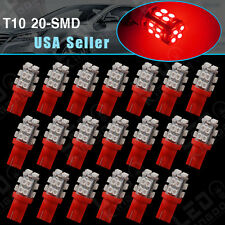 20X T10 Wedge Pure RED 20-SMD LED Dome Map LED light Bulb Lamps 194 168 2825 W5W