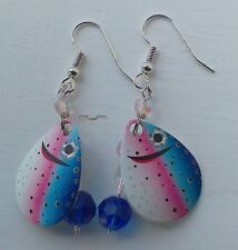 Fishing Lure Earrings, Handmade Jewelry, American Made Jewelry, Rainbow Trout