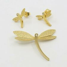 Stainless Steel Jewellery Set,Pendants and Ear Studs, Stardust, Dragonfly Gold