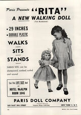 "1951 PAPER AD Paris Doll Rita The Walking Doll 29"" Strombecker Wooden Toys Clown"