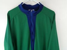pearl izumi cycling jersey vintage green blue xxl made in usa 1/2 zip ls