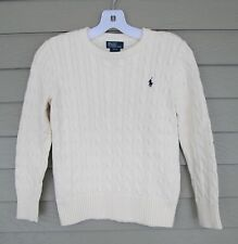 Ralph Lauren Childrens Girls Ivory Cable Knit Pullover Sweater M 10-12