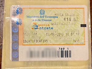 MARCA DA BOLLO TELEMATICA € 14,62 ANNO 2013, tutte del 08/06/2013 SENZA ANNULLO
