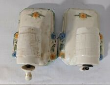 """Vintage Two Ceramic Bathroom Wall Light Sconces Multi Colored Flowers 7"""" x 4"""""""