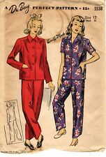 """Vintage 1940s WWII DuBarry Sewing Pattern PAJAMAS 5538 Sz 12 Bust 30"""" NOT USED"""