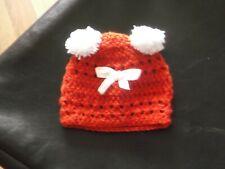 baby girls handmade crochet pom pom bennie hat newborn romany style