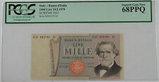 1979 Italy Banca d'Italia 1000 Lire Note SCWPM# 101f PCGS 68 PPQ Superb Gem New