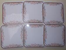6 Untersetzer Tassen/Glasuntersetzer Kupferblume eckig 10 x 10 cm PVC NEU