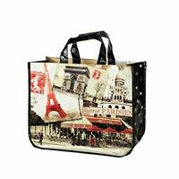 "French Shopping Bag Eiffel Tower, Arc de Triomphe oilcloth 17""x12""x7"""