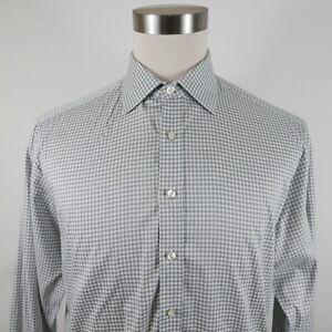Thomas Pink Mens Cotton LS Button Down Gray White Geometric Dress Shirt 16.5