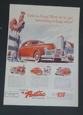 Original 1941 Print Ad PONTIAC Something to Crow About De Luxe Torpedo Coupe
