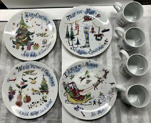 Crate & Barrel Christmas Plates & Mugs Twas The Night Before Christmas