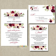 100 Personalized Burgundy Floral Boho Wedding Invitation Suite with Envelopes