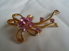 Pink Flower & Ribbons Brooch With Pink Stone's
