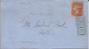 GB QV 1856 SCOTTISH COVER PENNY RED STAR 'PC' FROM EDINBURGH TO PERTH PMK! 2X131