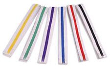 White Belt with Color Stripe Double Wrap Siz Karate/Taekwondo/Judo/Kendo/Hapkido