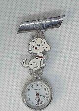 DALMATION pup crystal collar silver brooch Watch nurse  fob uniform pocket dog