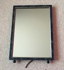 "Art Deco blue marbled dressing table mirror 11"" x 15"", wood frame"