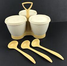 Vintage Tupperware Condiment Caddy Harvest Gold Spoons Bowls Lids Complete Set