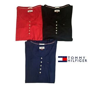 Tommy Hilfiger Henley Short Sleeve Tops T-shirt Authentic