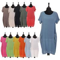 Italian Ladies Cotton Lagenlook Dress Sequin Pockets Womens Plus Size Shirt Top