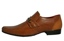 Red Tape Luther Mens Smart Fomal Slip on Leather Dress Shoes Brown UK Size 10 - Euro 44