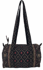 VERA BRADLEY 100 Handbag Small Duffel Style Bag In Laurel Black Red Retired!
