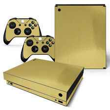 Xbox One X Skin Console & 2 Controllers Gold Glossy Finish Vinyl Wrap Decal