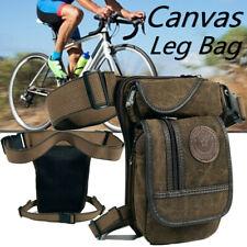 Men Canvas Motorcycle Rider Drop Leg Bag Tactical Military Belt Waist Fanny Pack