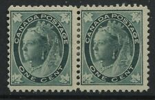 Canada QV 1897 Leaf 1 cent pair mint o.g.