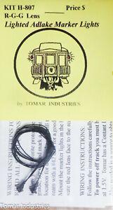 Tomar Industries HO #H-807 (Bulb) R-G-G Lens Adlake Marker Lights (Brass Casting