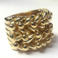 "SOLID HUGE 3 ROW KEEPER RING 50g QUALITY 9CT GOLD ON JEWELLERS BRONZE ""SIZE Z+4"""