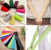 Women Warmer Protection Sleeves Long Fingerless Colorful Cotton Arm Gloves