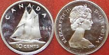 Brilliant Uncirculated 1966 Canada Silver 10 Cents From Mint's Roll