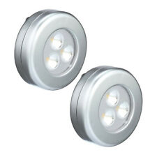 Home Depot 75221THD Battery Operated Lite-N-Up LED Utility Puck Light Silver 2pk