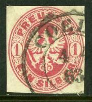 Germany 1861 Prussia 1 sgr Carmine SG #32 VFU J877 ⭐⭐⭐⭐⭐
