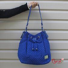 Crochet & Leather Drawstring Bucket Shoulder Bag - Blue