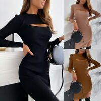 Women's Sexy Slim Pencil Dress Lady Long Sleeve Hollow Out Bodycon Party Dresses