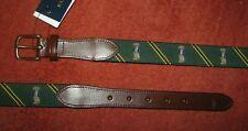 Men's $75. (34) POLO-RALPH LAUREN Green Leather PREP BEAR Striped Belt