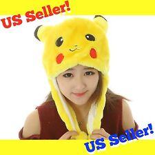 Cute Pikachu Pokemon Go Winter Hat Cap Anime Cosplay Ears Soft Plush Beanie