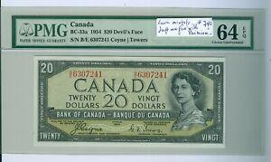 Canada $20 Note 1954 Devil`s Face PMG-64 EPQ, low-mintage...Cat:$740