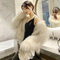 Damen Kunstpelz Rundhalsausschnitt Kurzjacke Winter Warm Outwear Coat Jacken