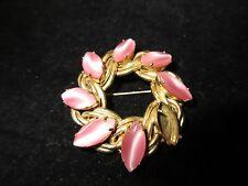 Kafin New York Signed 1940-1960 Vintage Pin Brooch Pink Gold Antique Estate