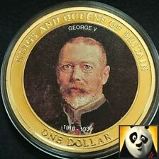 2007 COOK ISLANDS $1 Dollar King George V Gold Plated BUNC Coin + COA